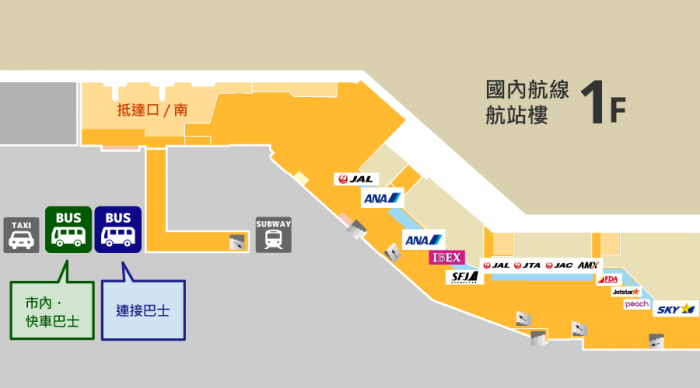 1F 航站樓南前 公共汽車地圖及路線: