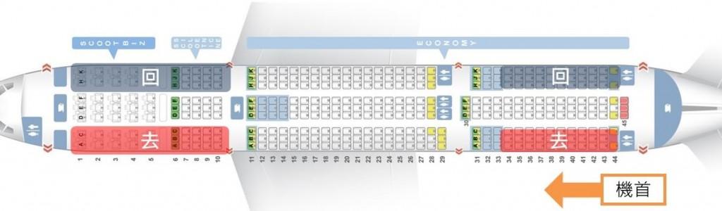 B787-9(酷航):去A排,回K排,選33排後的座位,避開大機翼。
