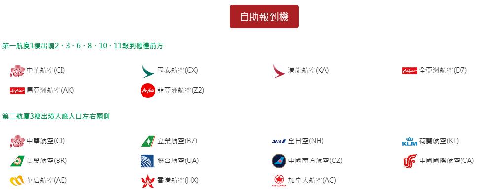 ★桃園機場自助機報到航空公司包括: