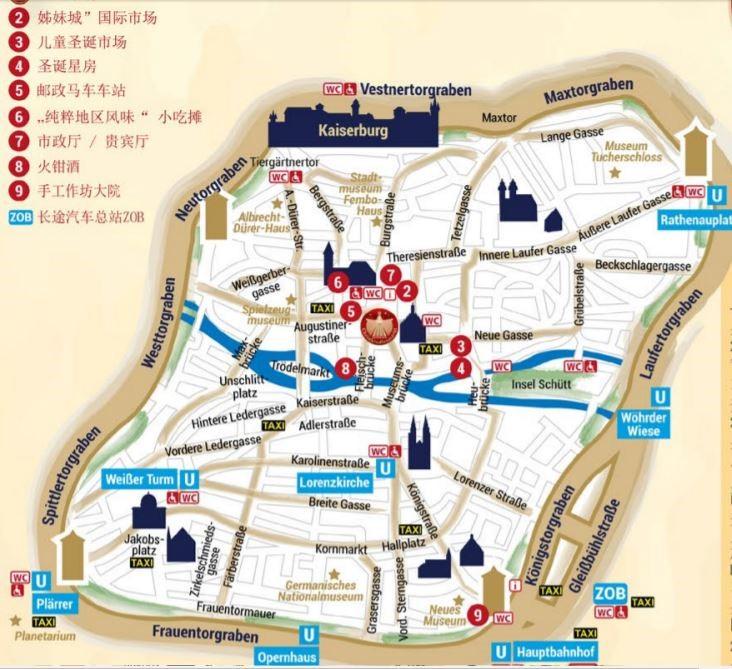 紐倫堡主廣場周邊地圖