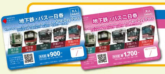 京都地下鐵、巴士一日或二日乘車券
