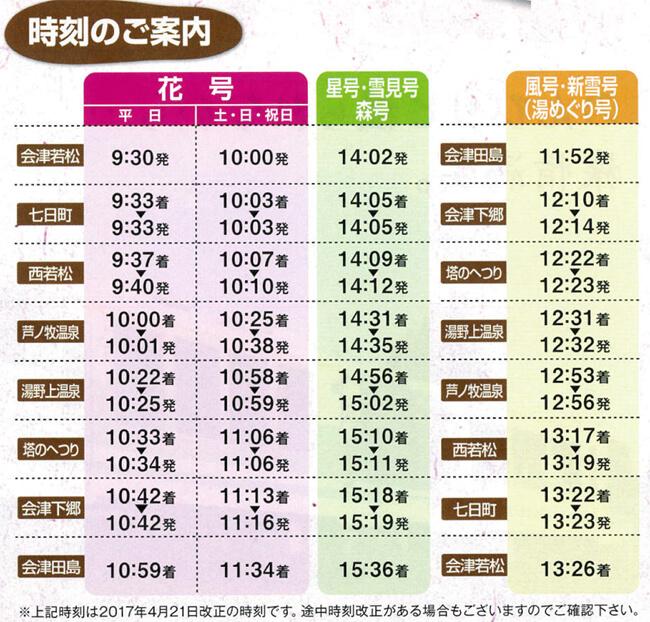会津浪漫號展望景觀列車時刻表
