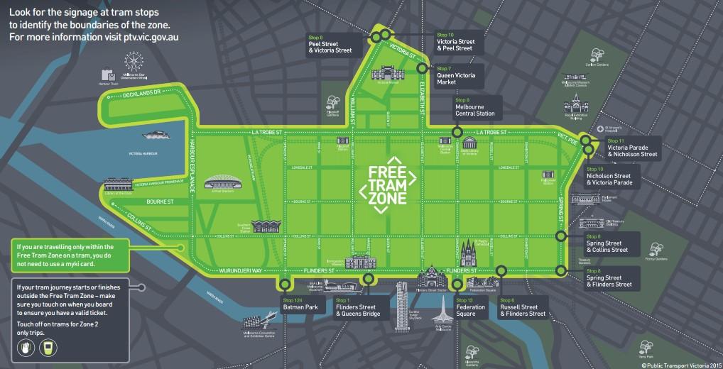 市區免費電車範圍 Free Tram Zone map