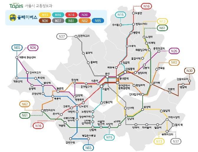 首爾深夜巴士路線圖